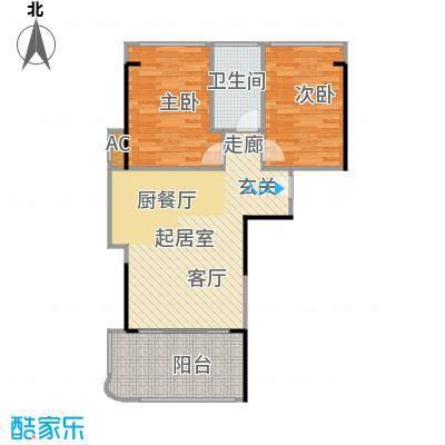 宝安虹海湾77.99㎡E户型2房1厅77.99平米户型2室1厅1卫