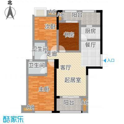 星海湾1号1#楼B户型 建筑面积约106㎡ 三房两厅两卫两阳台户型