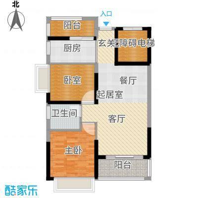 锦绣国际花城81.96㎡7幢5-15层02单元户型1室1卫1厨