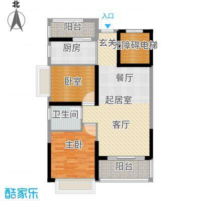 锦绣国际花城82.63㎡6幢5-15层02单元户型1室1卫1厨