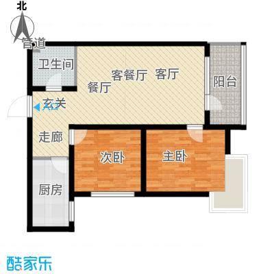 银湖馨苑87.00㎡J1户型两室两厅一卫(高层)户型2室2厅1卫
