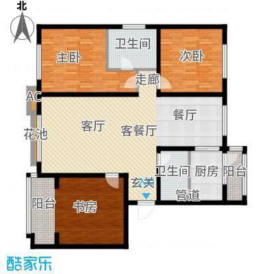 银湖馨苑131.00㎡G户型131平三室两厅两卫户型3室2厅2卫
