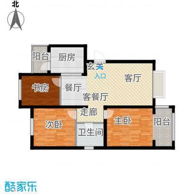 银湖馨苑96.00㎡A型96平三室两厅一卫户型3室2厅1卫