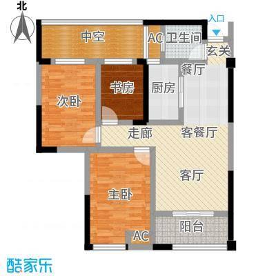 太平洋森活广场户型3室1厅1卫1厨