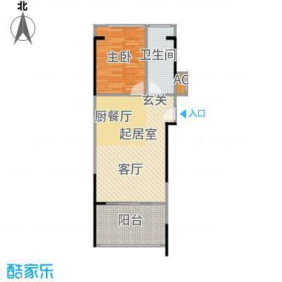 宝安虹海湾A户型1房1厅61.04平户型1室1厅1卫