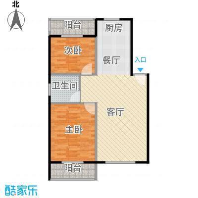 龙屿・香醍溪苑80.00㎡户型2室2厅1卫