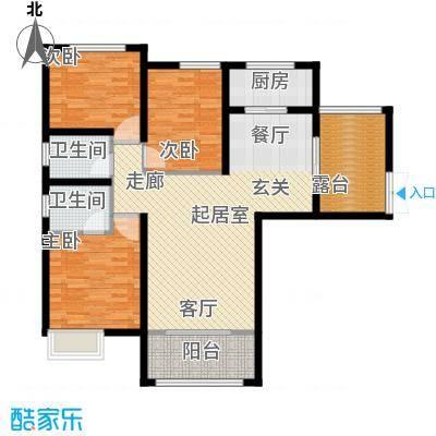 平湖天下三期尊峪户型3室2卫1厨