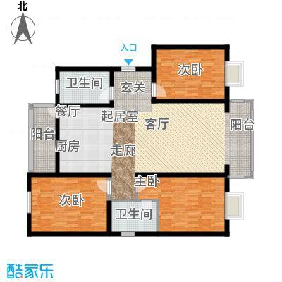 蓝湾华府121.00㎡121平三室两厅两卫户型3室2厅2卫