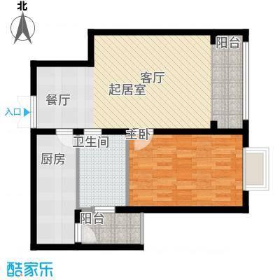 蓝湾华府71.00㎡71平一室一厅一卫户型1室1厅1卫