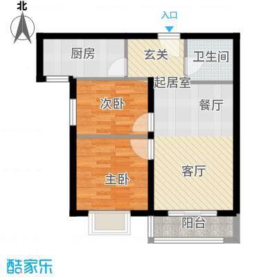 世纪龙庭二期80.00㎡D户型2室2厅1卫