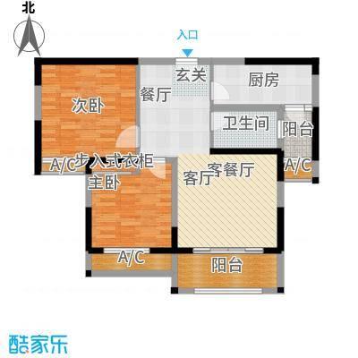 香榭一品89.79㎡2号楼D2户型2室2厅1卫X