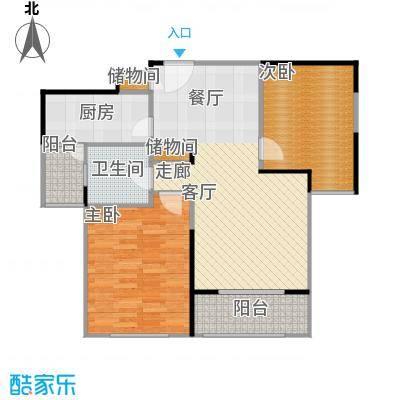 宝华城市花园二房二厅一卫,面积约88平方米户型