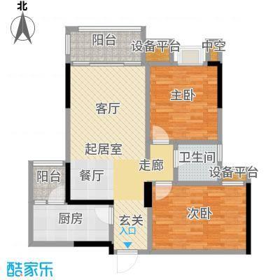 龙湖时代天街76.00㎡A3户型两室两厅一卫建筑面积76平米户型2室2厅1卫