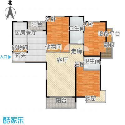 宝华城市花园三房二厅二卫,面积约148平方米户型