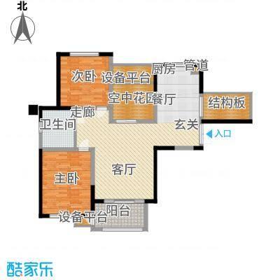 润泽东都108.00㎡E户型 两室两厅一卫户型2室2厅1卫
