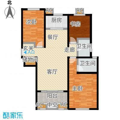 香榭水岸D户型105平米三室两厅两卫户型LL