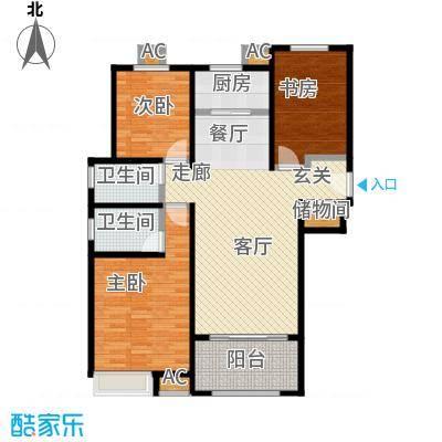 香榭水岸E户型114平米三室两厅两卫户型LL