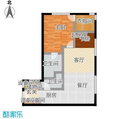 新岸大厦B1户型 二室二厅二卫户型2室2厅2卫