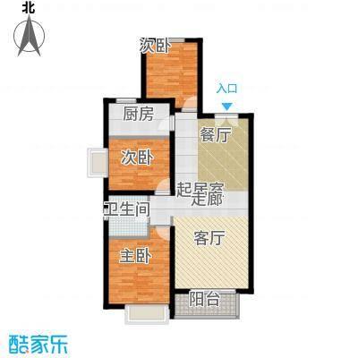 万达广场户型3室1卫1厨