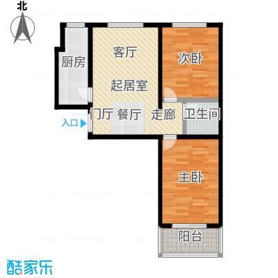水岸金城2室1厅1卫 82平米户型2室1厅1卫
