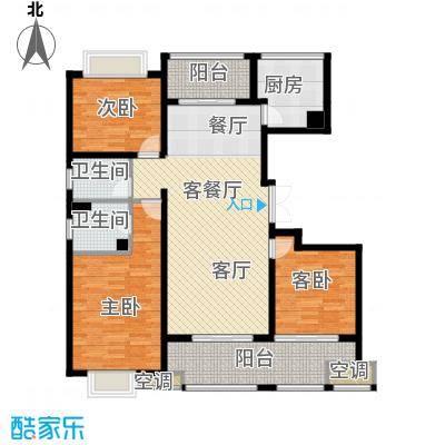 邦泰中央御城142.00㎡二期M户型 三房二厅二卫户型3室2厅2卫