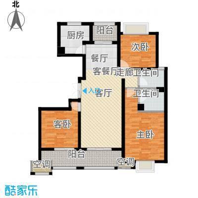 邦泰中央御城131.00㎡二期L户型 三房二厅二卫户型3室2厅2卫