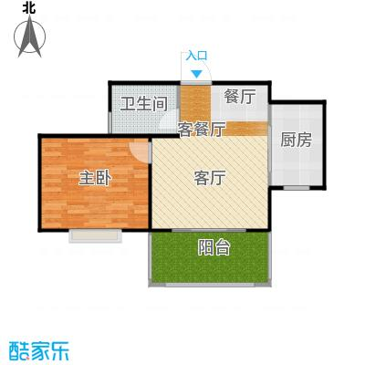 广泰瑞景城57.48㎡户型1室2厅1卫