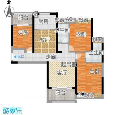 珠江观澜御景3、4号楼A户型平面布置图户型3室2厅2卫