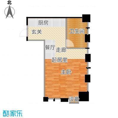 名品城二期A户型,面积约60平米户型