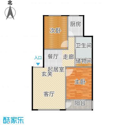 绿江太湖城黄金水岸83.00㎡5,17,18号楼户型2室2厅1卫