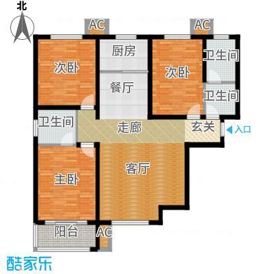 紫金蓝湾128.00㎡c1户型 三室两厅两卫户型