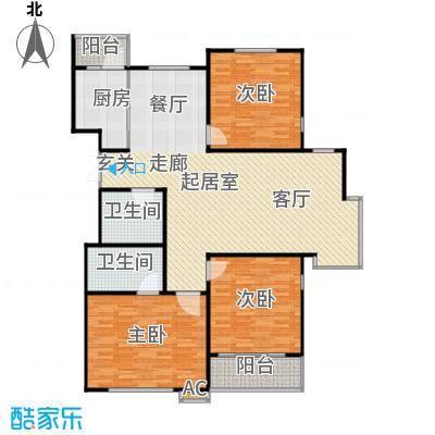 滨河湾128.86㎡C户型3室2厅2卫1厨 128.86㎡户型3室2厅2卫