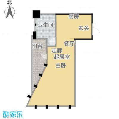名品城二期C户型,面积约60平米户型