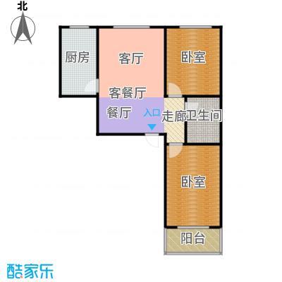 东泽园2室2厅1卫 91.28平米户型2室2厅1卫