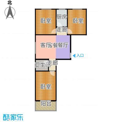 东泽园3室2厅1卫 97.04平米户型3室2厅1卫
