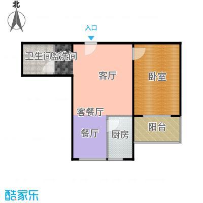 东泽园东泽园F户型1室1厅1卫1厨 57.00㎡户型1室1厅1卫