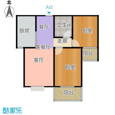 东泽园2室2厅1卫 83.91平米户型2室2厅1卫