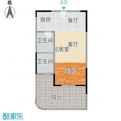 宝安虹海湾59.50㎡D户型单间59.50平米户型1室1卫