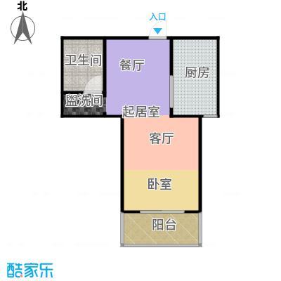 东泽园1室1厅1卫 57.1平米户型1室1厅1卫
