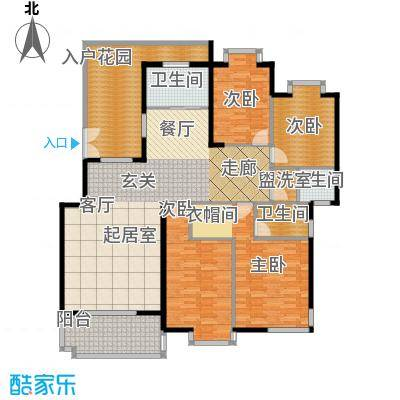 锦泰山水缘二期175.95㎡12栋A户型四室两厅一厨两卫户型4室2厅2卫