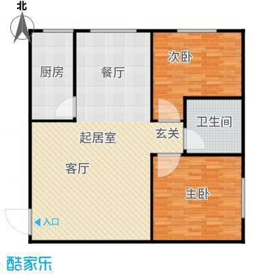 衡水金海岸两室两厅一卫82平户型2室2厅1卫
