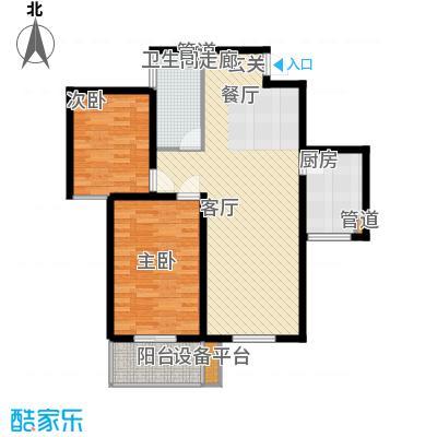 怡安嘉园2室2厅1卫 89.29平米户型2室2厅1卫