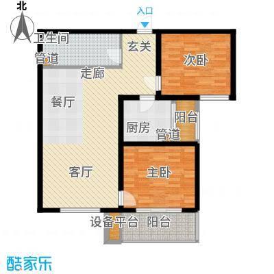 怡安嘉园2室2厅1卫 95.59平米户型2室2厅1卫