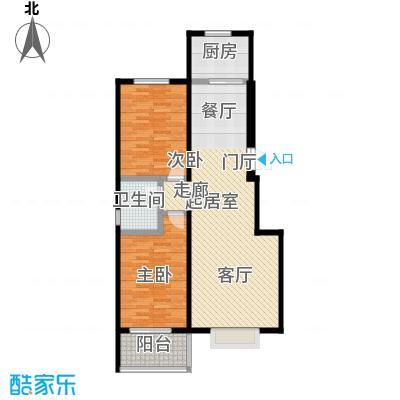 水岸金城2室2厅1卫 90平米户型2室2厅1卫