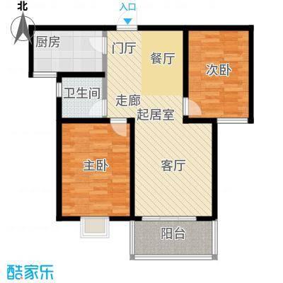 水岸金城2室2厅1卫 83平米户型2室2厅1卫