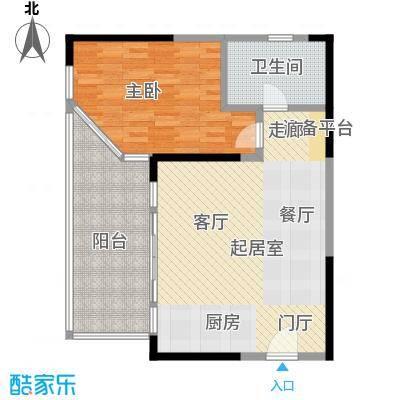 华润小径湾80.00㎡A型1房80平米户型1室2厅1卫