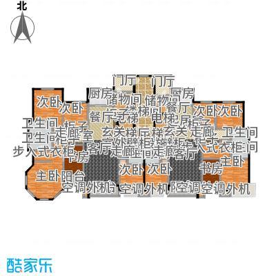 丽景福苑192.85㎡五室两厅三卫G2户型(右户型为G2户型)户型5室2厅3卫