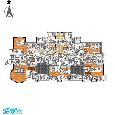 丽景福苑224.75㎡五室两厅三卫G1户型(左户型为G1户型)户型5室2厅3卫