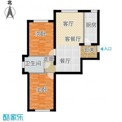 华溪龙城二期91.05㎡F1、F4户型两室两厅一卫户型2室2厅1卫