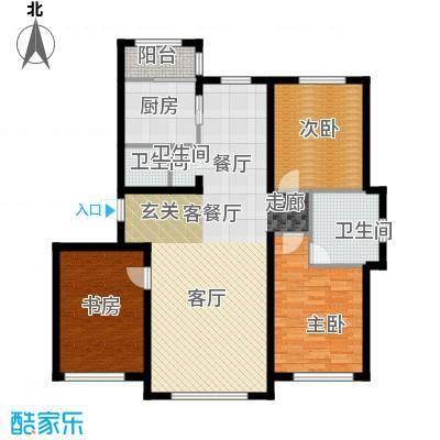 华溪龙城二期133.00㎡D1、D2户型三室二厅一卫户型3室2厅1卫